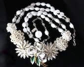 Statement Necklace, Vintage Milk Glass, Enamel Flower, White, Hand Wired, Crystals, Rhinestones, Reclaimed, Jennifer Jones - Milk Maiden