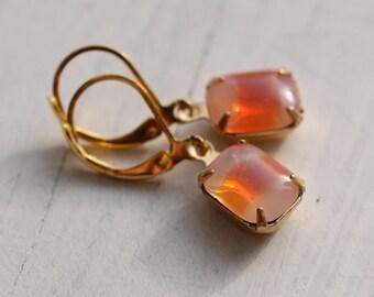 Tangerine Orange Earrings ... Frosted Vintage Glass Jewels