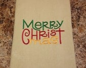 Merry Christmas Kitchen Towel - Christmas Decor - Ladies Stocking Stuffer - Holiday Towel - Hostess Gift - Christian Towel - Teacher Gift