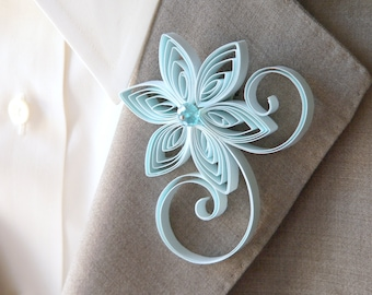Mens Wedding Boutonnieres, Baby Blue Boutonniere, Pastel Blue Buttonhole, Light Blue Wedding, Capri, Bridal Boutonniere, Buttonhole Flower
