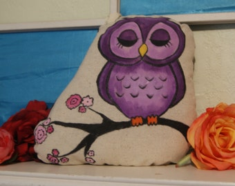 Hand Painted Purple Owl Pillow
