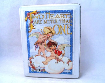 Mary Engelbreit Two Hearts Are Better Than One 7.5 x 6 Tin Shabby Chic Vintage 80s