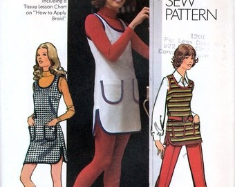 Simplicity 5205 Vintage 70s Misses' Mini-Jumper, Tunic and Pants Sewing Pattern - Uncut - Size 14 - Bust 36