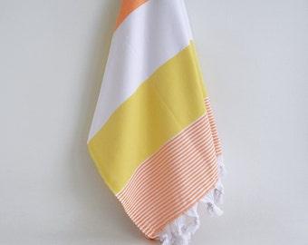 Shipping with FedEx - Turkish BATH Towel Marine Style Peshtemal - Natural Cotton - Yellow - Orange - White - Beach, Spa, Swim, Pool Towels