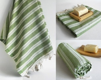 SALE 70 OFF/ Turkish Beach Bath Towel Peshtemal / Green / Wedding Gift, Spa, Swim, Pool Towels and Pareo