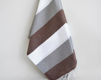 SALE 50 OFF / Turkish Beach Bath Towel / Classic Peshtemal / White Gray Brown / Wedding Gift, Spa, Swim, Pool Towels and Pareo