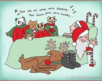 Funny Christmas Card, Santa and Mrs Claus, Carol with Rudolph and Kids, Humorous Xmas Holiday Card