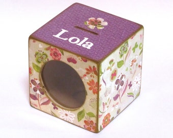 Coin Bank Wood Box Piggy Bank with Window for Girls - Purple & Green Floral - Personalized