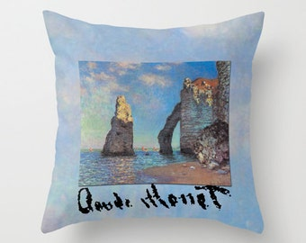 Claude Monet Boats and Cliffs on Painted Clouds Pillow Fabric