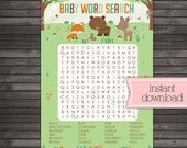 Woodland Baby Shower Word Search Printable - Instant Download - Fox Baby Shower Games - Neutral Baby Shower Activities - Deer Baby Shower