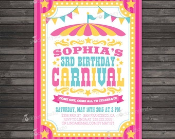 Carnival Birthday Invitation Printable - Circus Birthday Party - Carnival Invitation - Circus Invitation - Girl Birthday Party