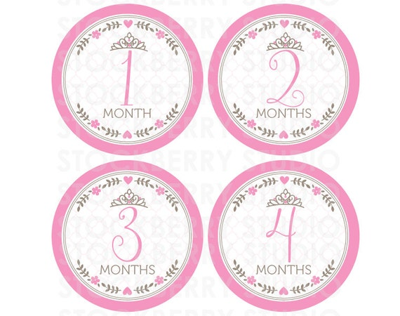 Princess Baby Month Stickers Girl Printable - Pink Baby Monthly ...