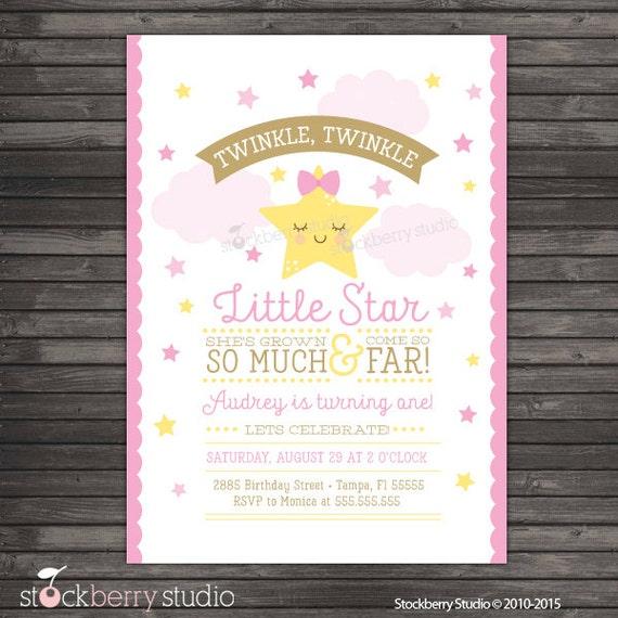 Twinkle Twinkle Little Star Invitation Printable Twinkle Twinkle