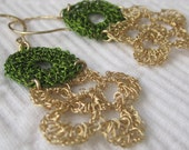 Crochet Earrings of Gold Filled 14k jewelry wire and wire green color