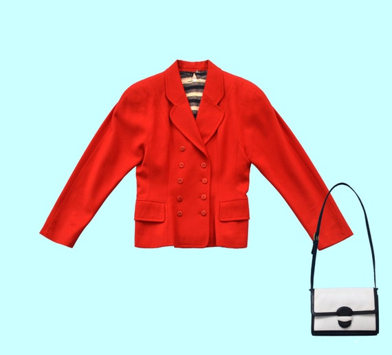 1980s Karl Lagerfeld Red Wool Jacket size S
