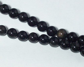 black OBSIDIAN 12mm round Beads
