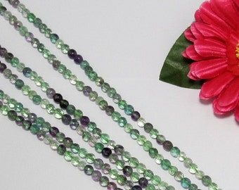 2 Strand Fluorite 6mm Gemstone round faceted Loose Beads
