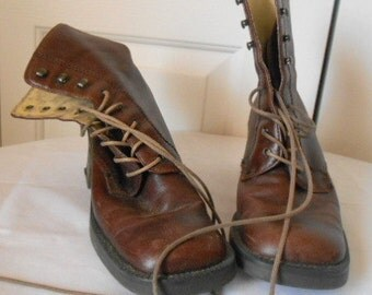 Vintage square toe brown Leather lace up Ankle Boots