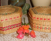 Two Mid Century Sweet grass round woven Basket with lid