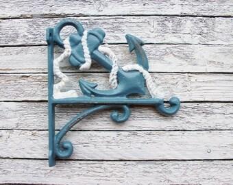 Nautical Anchor Plant Hanger - Cast Iron-White and Slate Blue - Ocean Beach-Sea-Groomsmen Gift-Patio-Metal Wall Decor-Spring Home Decor-