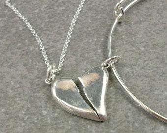 Best Friend Necklace- Best Friend Bracelet- BFF Jewelry- One of a Kind Best Friend Charms- BFF Keychain- Valentine Jewelry- Valentines Gift