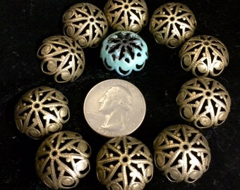 Large Filigree Bead caps BIG TOP  10 pieces for jewelry, kiln or torch firing