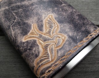 Stormy Seas Leather Flask Nautical Swallow Handtooled