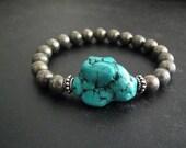 Chunky Turquoise Bracelet | Pyrite Bracelet | Layering Jewelry | Fool's Gold Bracelet | Metallic Bracelet | Turquoise Nugget