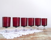 Luminarc Cavalier Wine Glasses / Verrerie D'Arques France Ruby Glassware / Individual Glasses / Red Holiday Party Glassware