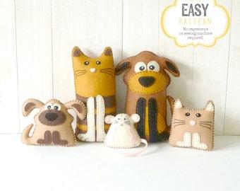 Cat and Dog Sewing Patterns, Felt Cat Dog Kitten Puppy & Mouse, Pet Stuffed Animals, Dog Softie Pattern, Cat Softie Pattern