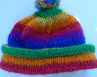 Handmade Wool Rainbow Hat