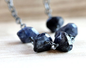 Blue Labradorite Necklace, Rustic Freeform Midnight Blue Spectrolite Oxidized Sterling Silver Necklace - Mirage
