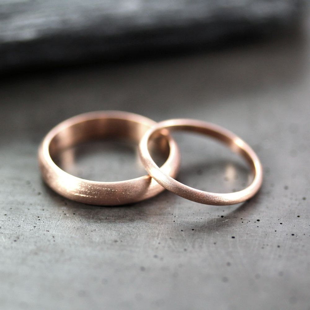 Rose Gold Wedding Set Brushed Mens And Womens His