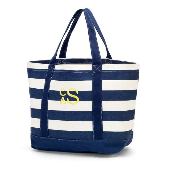 Canvas Tote in Navy Blue Stripes