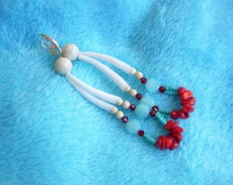 Native American Inspired OOAK Dentallium Coral Fossil and Red Crystal  Earrings