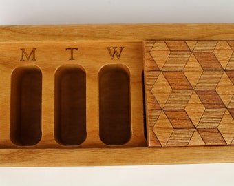 Cube Design Wooden Box, Patterned Laser Engraved, Medium Depth, Solid Cherry, Pill/Medication Box, V1, Vitamin Organizer, Masterpiece Laser