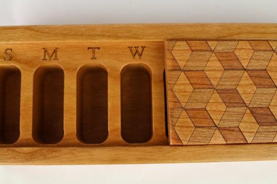 Cube Design Wooden Box, Patterned Laser Engraved, Medium Depth, Solid Cherry, Pill/Medication Box, V1, Vitamin Organizer, Paul Szewc