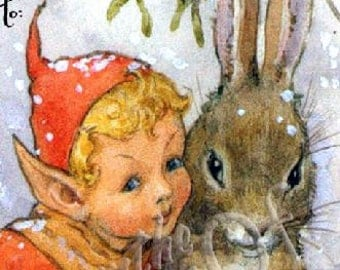 Some Bunny Loves You - Elf and Bunny - Zoom Inn - So CUTE - Elf - Rabbit - Misletoe - ADHESIVE -   Personalized Bookplates