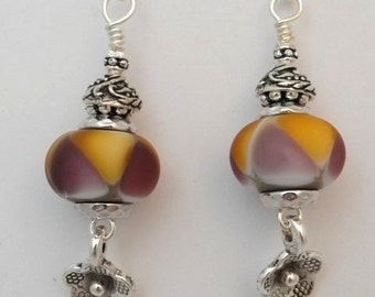 Lampwork Earrings, Purple Beads, Yellow Beads, Art Bead Earrings, Artisan Beads, Emerald City Glass, Marcie Page