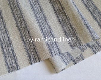 "linen cotton blend fabric, yarn dyed stripes weaved linen cotton blend fabric, half yard by 44"" wide"