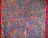 SOLD Silk Shawl handpainted/ bougainvillea/ wearable art/silk painting /original Perfect Gift OOAK