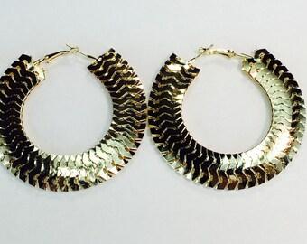 Gold Centipede 3 inch Hoop Earrings Buy 2 Get 1 Free
