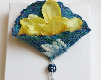 Brooch Pin Blue Silk Fabric Brooch with Yellow Daffodil and Beads