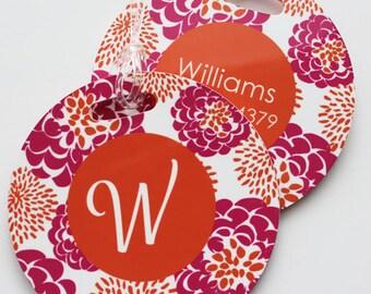 PEONY round luggage tags with custom monogram - set of 2