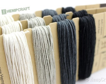 Hemp Twine, Shades of Onyx, 1mm High Quality Black Color Card Set, Craft Cord