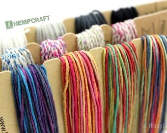 Hemp Twine Color Combo, 3 Color Inspiration Cards, 1mm Twine, Premium Hemp Cord