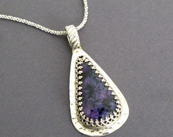 Charoite Necklace - Handmade Charoite Jewelry, Charoite and Sterling Silver Metalwork Necklace, Sterling Silver Metalwork, Russian Charoite