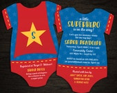 10 Superhero Baby Shower Invitations, Superhero cape -- Onesie Die Cut shaped -- Double sided in any colors