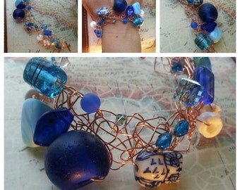 SALE. Cobalt Blue Sea Glass and Owl. Wire Crocheted Bracelet