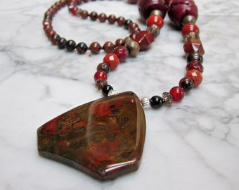 Earthy Natural Merlot Wine Red Stone and Crystal Base Root Chakra Balancing Necklace with Brecciated Jasper Pendant